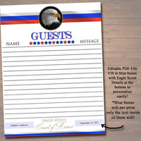EDITABLE Eagle Scout Court of Honor Guest Book Page, Eagle Scout Guestbook, Boy Scout Banquet, Digital DIY Guestbook. Eagle Scout Printables