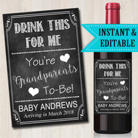 Drink This For Me Your Grandparents to Be Beer & Wine Label Pregnancy Announcement INSTANT and EDITABLE, Parents Promoted Pregnancy Reveal