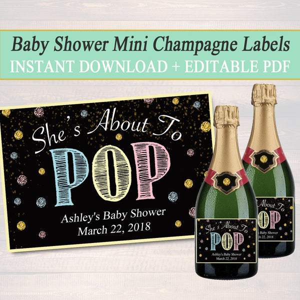 EDITABLE Unisex Baby Shower Mini Champagne Labels, Printable Labels, INSTANT DOWNLOAD, She's About To Pop, Twins Baby Shower, Ready to Pop