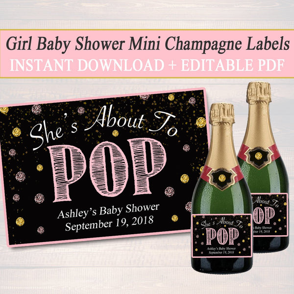 EDITABLE Girl Baby Shower Mini Champagne Labels, Printable Labels, INSTANT DOWNLOAD, She's About To Pop, Girl Baby Shower Decor Ready to Pop
