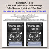 Drink This For Me You're A Daddy To Be, Digital Wine Label Pregnancy Announcement, New Dad Gift, Husband Spouse Pregnancy Reveal