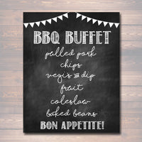 BBQ Menu Sign, Chalkboard Sign, Party Decor, Barbecue Buffet, Printable,  Sign, BBQ Party, Graduation, Wedding I do Barbecue