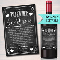 EDITABLE Future In-Laws Wine Labels, Printable Wine Label, Family Marriage Gift, Gift For In Laws INSTANT DOWNLOAD, Parents Wedding Gift