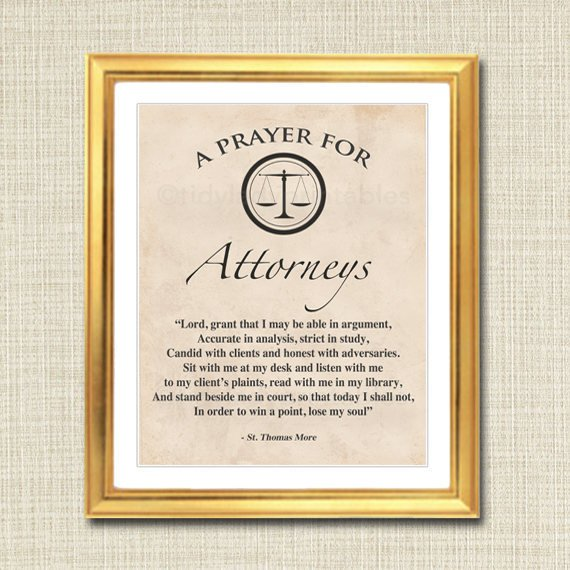 Attorney Prayer Art, Attorney Gift, Office Decor Lawyer Desk, Printable Wall Art, INSTANT DOWNLOAD Religious Lawyer, St. Thomas More Quote
