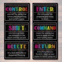 Computer Lab Poster Set, Classroom Decor, INSTANT DOWNLOAD, Computers Class Decor, Teacher Printables, Classroom Rules Chalkboard Posters