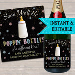 Baby Champagne Label Pink & Blue Pregnancy Announcement Printable Wine Label, New Years Pregancy Reveal, Poppin Bottles of a Different Kind