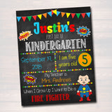 EDITABLE Superhero Back to School Photo Prop, Back to School Chalkboard Poster INSTANT DOWNLOAD, Any Grade, Boy 1st Day of School Printable
