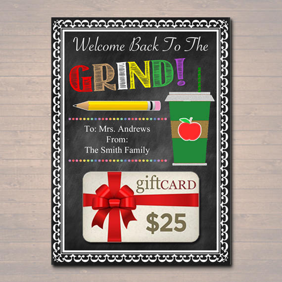 EDITABLE Coffee Card Holder, Thanks a Latte Gift Card Holder, Printable, Back To School Teacher Gift, Welcome to the Grind  INSTANT DOWNLOAD