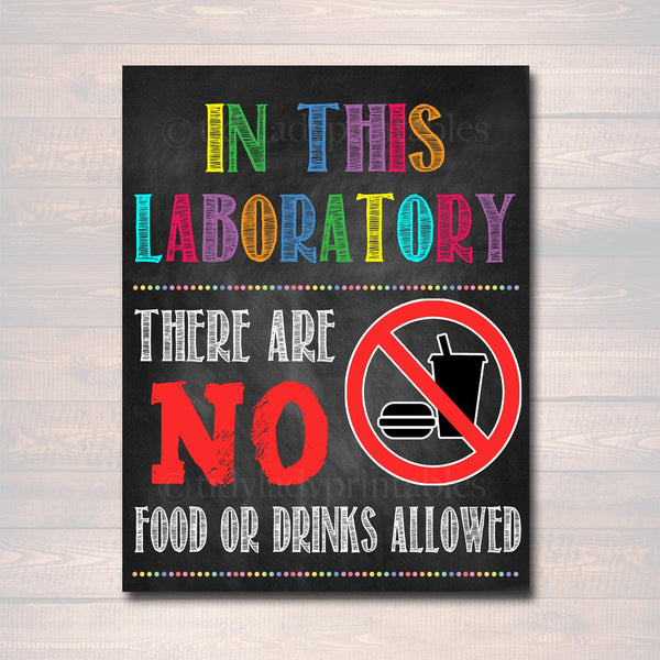 Laboratory Poster, No Food or Drinks Allowed School Poster, Science Classroom Decor, Classroom Management, INSTANT DOWNLOAD, Classroom Rules