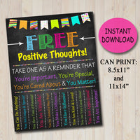 School Counselor Door Sign, Positive Thoughts Tear Off Flyer, Classroom Decor School Counselor Gift, Office Decor Social Worker Psychologist