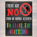 School Cafeteria Rules Poster, PRINTABLE, INSTANT DOWNLOAD Lunchroom School Teacher Sign, School Poster, Cafeteria Wall Art, No Food Leaves