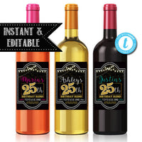 EDITABLE 25th Birthday Custom Wine Labels, 25th Anniversary, Cheers to 25 Years, 25th Birthday Gift, 25th Party, Vintage Aged to Perfection