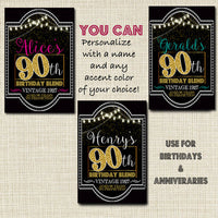 90th Birthday Custom Wine Labels, Cheers to 90 Years, 90th Birthday Gift, 90th Party, Vintage Aged to Perfection 90th Printable