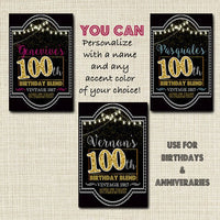 100th Birthday Custom Wine Label, Cheers to 100 Years, 100th Birthday Gift, 100th Birthday Party Decor, Vintage Aged to Perfection
