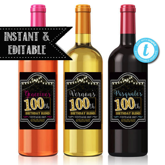EDITABLE 100th Birthday Custom Wine Label, Cheers to 100 Years, 100th Birthday Gift, 100th Birthday Party Decor, Vintage Aged to Perfection