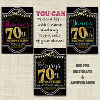 70th Birthday Custom Wine Labels, Cheers to 70 Years, 70th Birthday Gift, 70th Party, Vintage Aged to Perfection 70th Printable