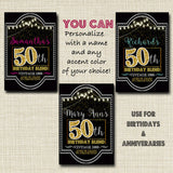 50th Birthday Custom Wine Labels, Cheers to 50 Years, 50th Anniversary Gift, 50th Party, Vintage Aged to Perfection 50th Birthday