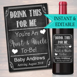 Drink This For Me You're An Aunt & Uncle To Be, Digital Wine Label Pregnancy Announcement New Aunt Gift, Couple's Friends Baby Surprise Gift