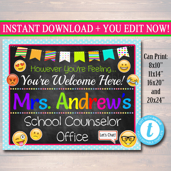 School Counselor Emoji Door Sign - Editable Template