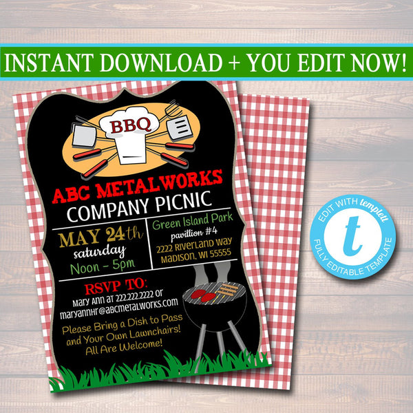 CUSTOM Picnic Invitation, Company Picnic, Family Picnic, BBQ Invite, Picnic Invitation, Company Outing, Barbecue Party, Summer Party Invite