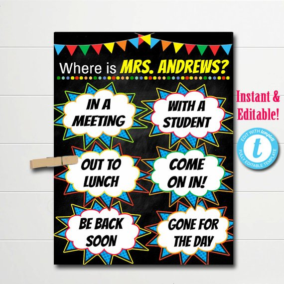 "Superhero Classroom Teacher Door Hanger ""Where is the Teacher"""