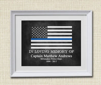 EDITABLE Police Gift, Blue Lives Matter, Back the Badge Printable Wall Art Home Decor, Thin Blue Line Art Police Academy Gift, Digital