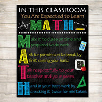 MATH Teacher Classroom Poster, Printable Math Classroom, Math Poster, Math Class Decor, Classroom Rules Sign, Math Teacher Gift, Math Rules