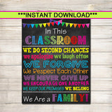 Printable Classroom Poster, Classroom Decor, Teacher Printable, When you Enter This Classroom Rules Sign, Teacher Gifts, We are a Family