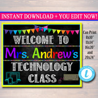 IT Computer Teacher Computer Lab School Sign - Editable DIY Template