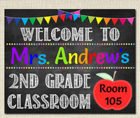 EDITABLE Teacher Classroom Door Sign, Classroom Decor, Teacher Printable, Classroom Printable Custom Teacher Sign, Back to School Chalkboard