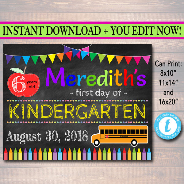 EDITABLE Back to School Photo Prop, Kindergarten Chalkboard Poster, Personalized School Chalkboard Prop, First Day of School Chalkboard Sign