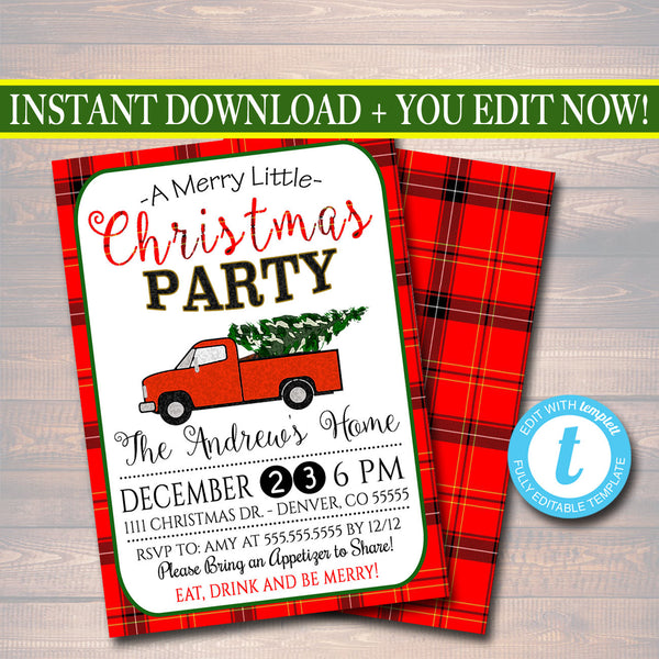 Printable Christmas Party Invitation, Red Truck Holiday Party Invitation, Retro Plaid Christmas Card, Plaid Flannel Vintage Christmas Card