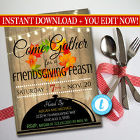 Printable Friendsgiving Party Invitation, Thanksgiving Party Invitation,  Adult Thanksgiving Party Invite, Come Gather Friendsgiving Feast