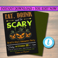 Printable Halloween Invitation, Haunted House, Costume Party Invitation, Scary Adult Party Invite, Adult Halloween, Eat Drink and Be Scary