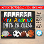 Gym Teacher Classroom Door Sign - Customizable DIY Template