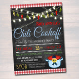 Chili Cookoff Flyer/Invitation, Family Picnic, BBQ Invite, EDITABLE Printable Invitation Company Flyer, Barbecue Party, Fundraising Event