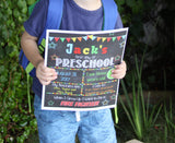 EDITABLE Boy Preschool Back to School Photo Prop, Back to School Chalkboard Poster, Personalized School Chalkboard Sign, 1st Day of School