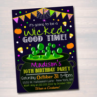 Printable Kid's Hallowen Party Invitation, Halloween Invite, Halloween Birthday Party, Costume Party Invitation, Wicked Good Time, EDITABLE