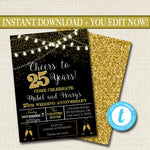 EDITABLE 25th Party Invitation, Birthday Printable Cheers to Twenty Five Years, Digital 25th Wedding Anniversary Invite, Black & Gold Party