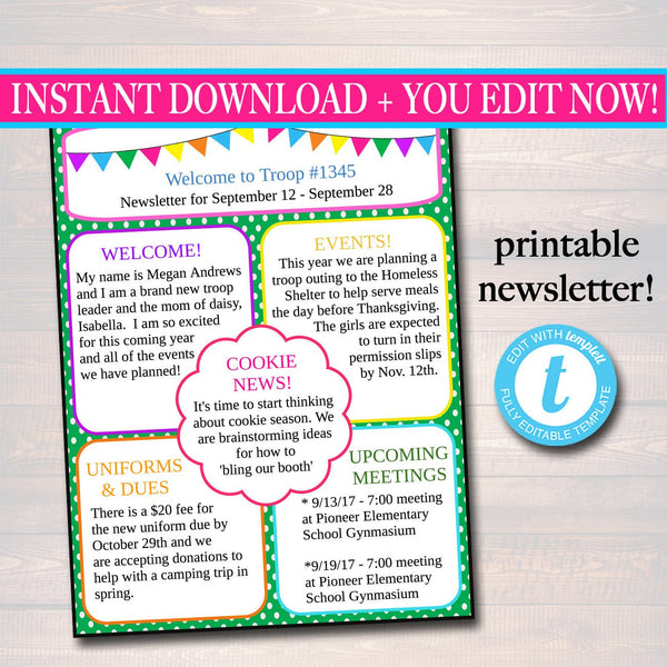 EDITABLE Newsletter Template, INSTANT DOWNLOAD, Teacher Newsletter, Event Newsletter, Parent Communication Form, School, Troop Printable