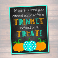 Teal Pumpkin Project Printable Sign, INSTANT DOWNLOAD, Allergy Free Halloween, Non Candy Halloween, Trunk or Treat, Trick or Treat, Decor
