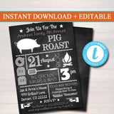 EDITABLE Pig Roast Invitation, Company Picnic, Family Picnic, BBQ Invite, Picnic Invitation, Barbecue Party, Summer Backyard Party Invite