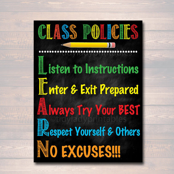 Classroom Decor, Classroom Policies Poster, Classroom Rules Poster, Educational Motivational Poster, Printable Teacher Art INSTANT DOWNLOAD