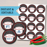 EDITABLE Chili Cookoff Labels, Family Picnic, Holiday BBQ Printable Chili Dish Intentifying Tags, Potluck Company Party, Fundraising Event