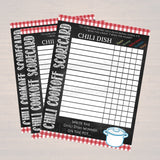Chili Cookoff Scorecards, Family Picnic, Holiday Digital BBQ Printable Chili Dish Competition Tags, Potluck Company Party, Fundraising Event
