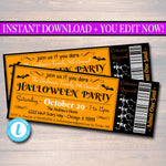 Printable Halloween Ticket Invitation, Costume Party Invitation, Birthday, Kid's Halloween Party Invite, Adult Halloween, INSTANT DOWNLOAD
