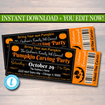 EDITABLE Halloween Ticket Invitation, Costume Party Invitation, Birthday, Kid's Halloween Party Invite, Pumpkin Carving Party Ticket Invite