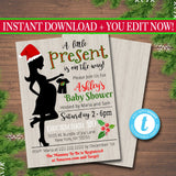 Christmas Baby Shower Party Invitation, Christmas Invite, Gender Reveal Santa, A little Present is on it's Way!