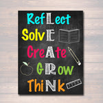 LEARN Acronym Poster, Growth Mindset, INSTANT DOWNLOAD, Printable Motivational Wall Art, School Office, Classroom Decor, Teacher Chalkboard