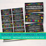 Teacher Growth Mindset Notes, Printable Stickers, INSTANT DOWNLOAD, What Can I Think Instead, Teacher Student Notes, Motivational Stickers
